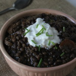 Slow Cooker Lentil Black Bean Chili {Vegetarian}