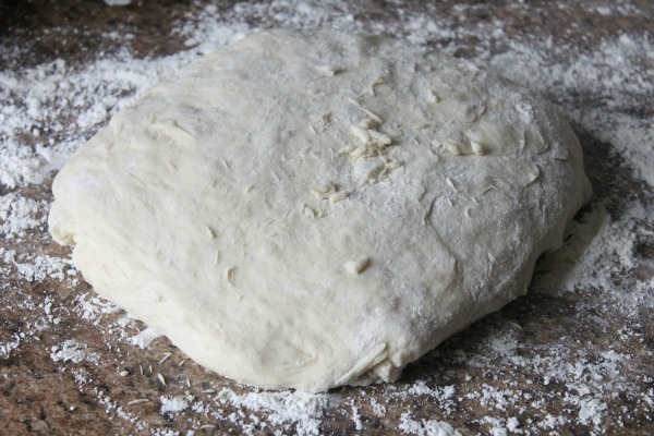 fold over the dough into a rectangle