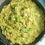Skillet Chicken Broccoli and Cheese Rice Casserole