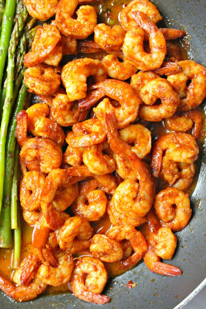 SHRIMP AND ASPARAGUS SKILLET